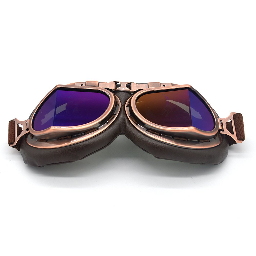 Copper, Blue evomosa Vintage Goggles Aviator Pilot Style Motorcycle Cruiser Scooter Goggle Bike Racer Cruiser Touring Half Helmet Goggles