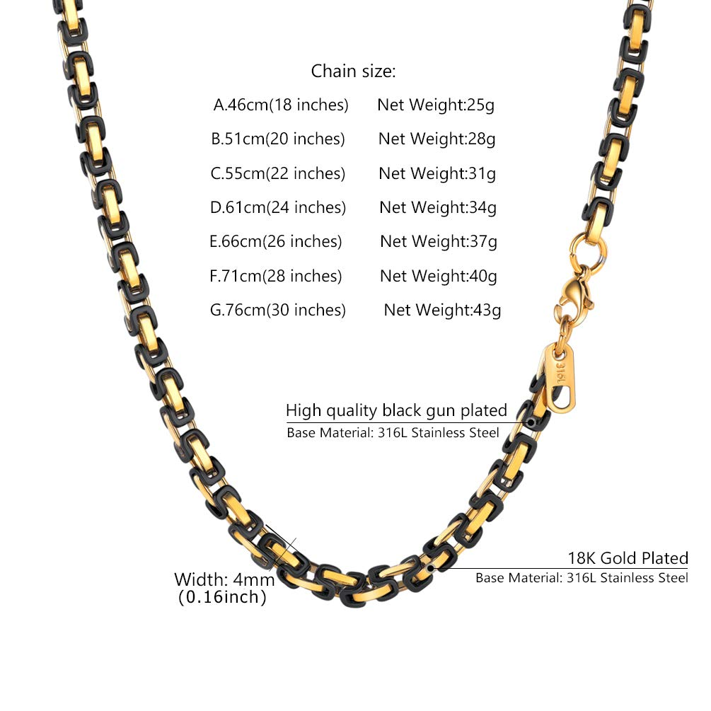 66cf7c5f42a755 PROSTEEL 4MM Stainless Steel Necklace for Men Jewelry Vintage Byzantine  Chain Link Gold Black Tone, 18 Inches | Amazon.com