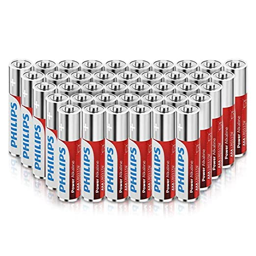 Philips AAA Batteries (40 Count), 1.5V Alkaline Batteries, 1100mAh Performance LR03 AAA Battery,LR03P4B/27