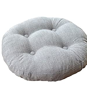 VClife Light Grey Round Chair Pad Indoor Outdoor Bistro Chair Cushion  Decorative Decor Cotton Linen Floor Pillows For Home Office School Car  19.5inch(50cm), ...
