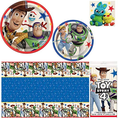 Unique Toy Story 4 Dinnerware Bundle Officially Licensed by Unique | Napkins, Plates, Tablecover | Great for Kids Birthday Party, Animated Theme, Pixar & Disney -