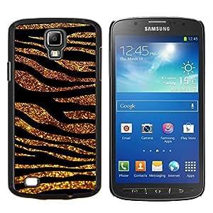 YiPhone /// Prima de resorte delgada de la cubierta del caso de Shell Armor - oro líneas negras de animales de pieles de cebra - Samsung Galaxy S4 Active i9295