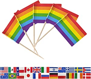Tectsia 100Pcs Rainbow Pride Gay Toothpick Flags, Small Mini Stick Pride LGBT Gay Fruit Cake Topper Flag for US Military Day Party Events Celebration Supplies, Birthday Wedding Dinner Decorations