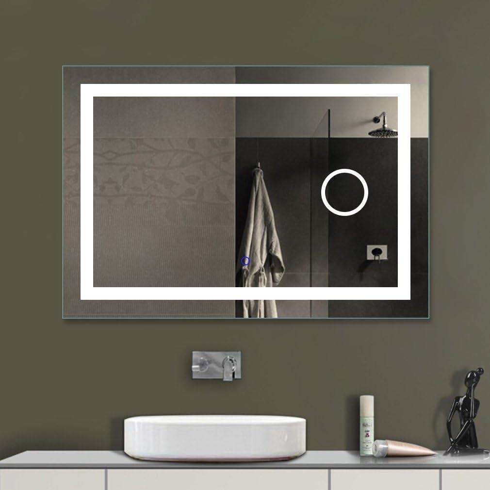 Neutralwei/ß 4000K 45 Lichtspiegel Wandspiegel Bad Spiegel mit Touch-Schalter 80CM Tonffi LED Badspiegel mit Beleuchtung IP44
