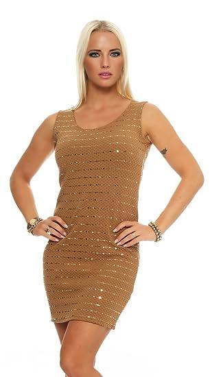 57d32503edf OSAB-Fashion 10956 Damen Minikleid Abendkleid Party Cocktail Glitzer  Pailletten Goldnieten Dress (braun
