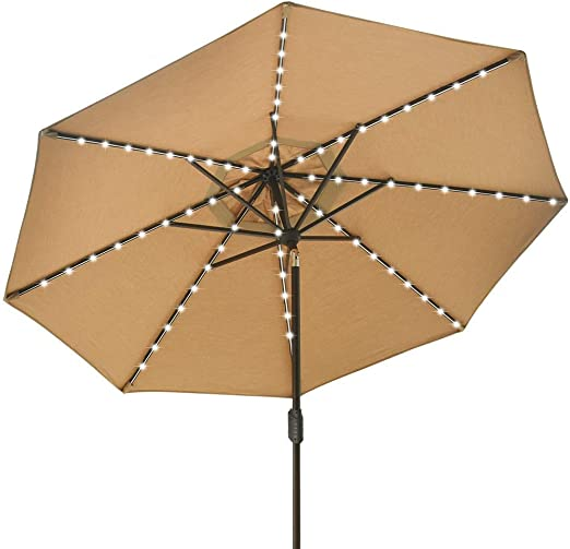 Eliteshade Sunbrella Solar Umbrellas 9ft Market Umbrella With 80 Led Lights Patio Umbrellas Outdoor Table Umbrella With Ventilation And 5 Years Non Fading Top Heather Beige Garden Outdoor