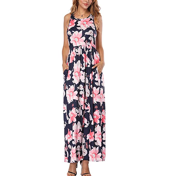 a434c5355d1 HOOYON Women s Maxi Dress Floral Printed Summer Tunic Casual Long Dress  Sleeveless Purple S