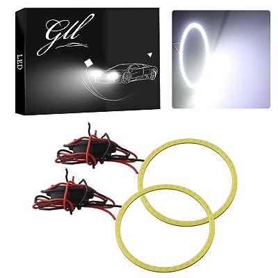 GrandviewTM White 2X 70mm 60SMD COB Led Angel Eyes Headlight Halo Ring Warning Lamp: Automotive