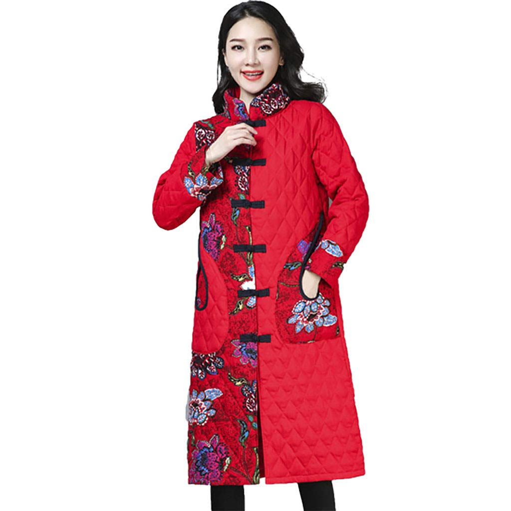 Yanvan Women Winter Coat Folk-Custom Print Buttons Cotton Outwear Warm Long Thick Coat Jacket by Yanvan