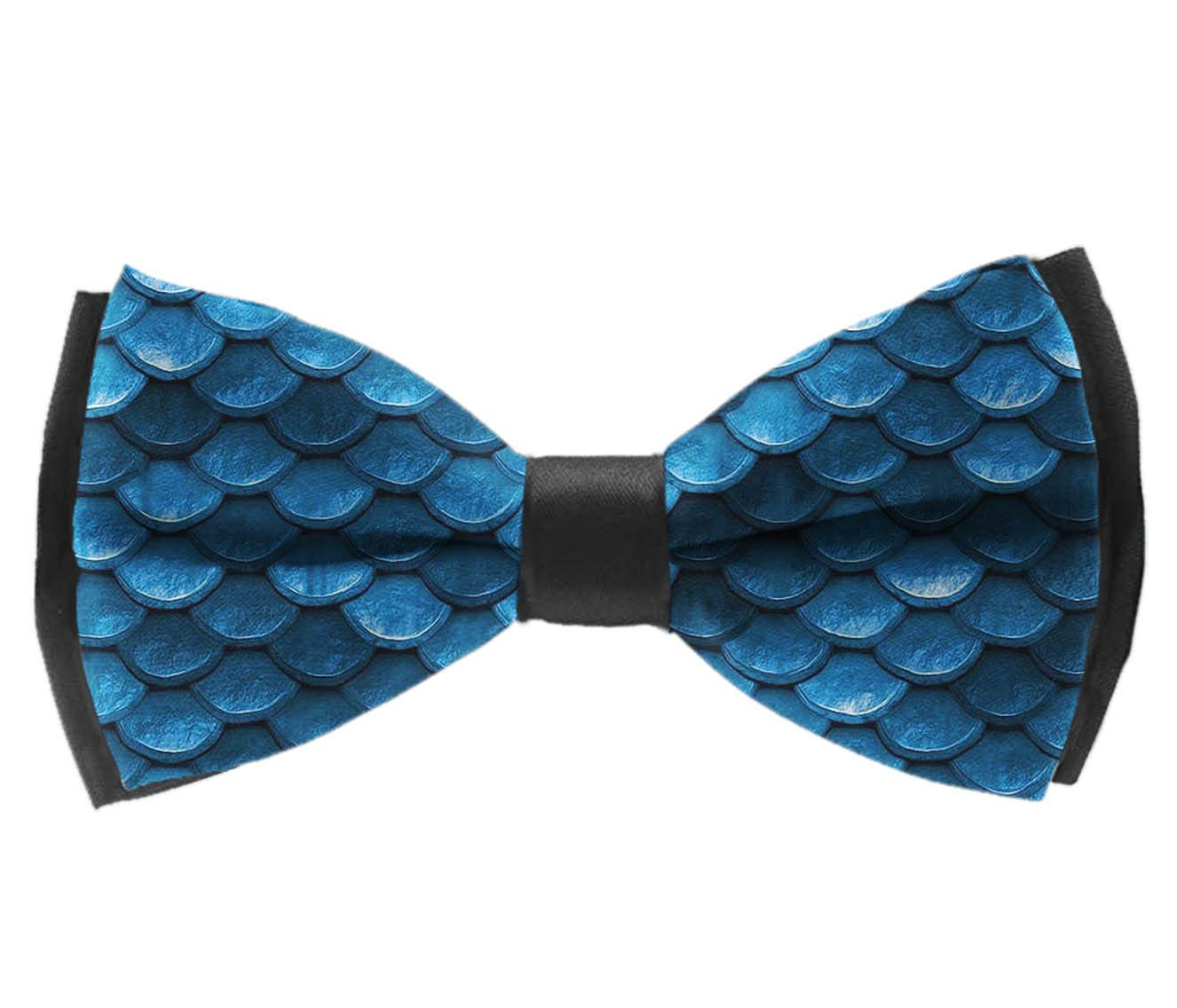 INWANZI Bahama sea Blue Mermaid Fish Scales Men Pre-Tied Bowtie with Adjustable Length Classic Party Bow Tie
