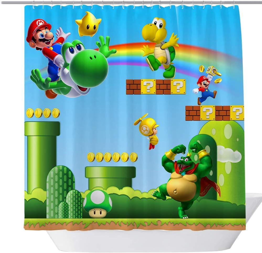 BT World Cartoon 71X 71 inches Polyester Fabric Shower Curtain for Bathroom, Kids Bath Decor Curtain Set with Hooks