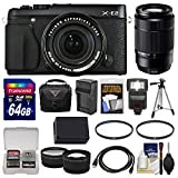 Fujifilm X-E2 Digital Camera & 18-55mm XF Lens (Black) with 50-230mm OIS Lens + 64GB Card + Case + Flash + Battery + Tripod + Tele/Wide Lens Kit