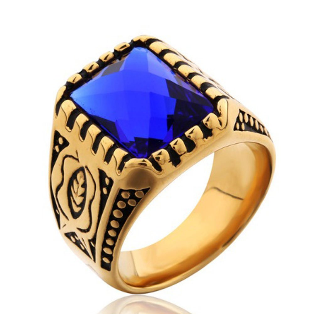 FT-Ring Punk Princess Gold-color Blue Zircon Ring For Women Party Wedding Engagement Rings