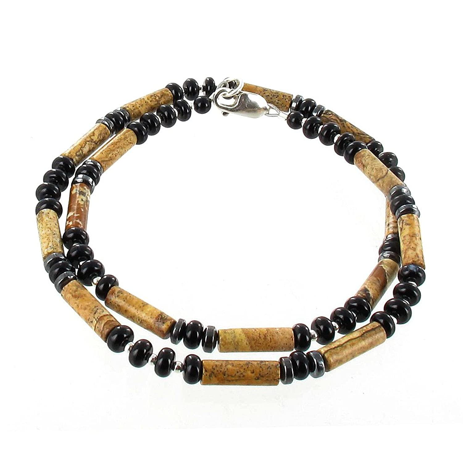 Timeless-Treasures Picture Jasper, Black Onyx, Hematite (Hemalyke) & Sterling Silver Men's Beaded Necklace