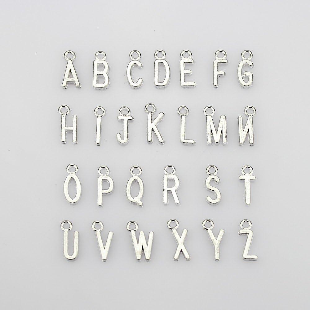 lollibeads (TM) Vintage estilo envejecido Zodiaco simbol, alfabético letras Charm colgantes para fabricación de joyería DIY