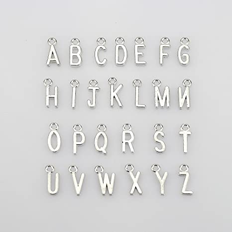 52 Pcs TM 2 Sets of Antiqued Silver Plated Letter Charms Alphabetic Pendant Set by LolliBeads LolliBeads