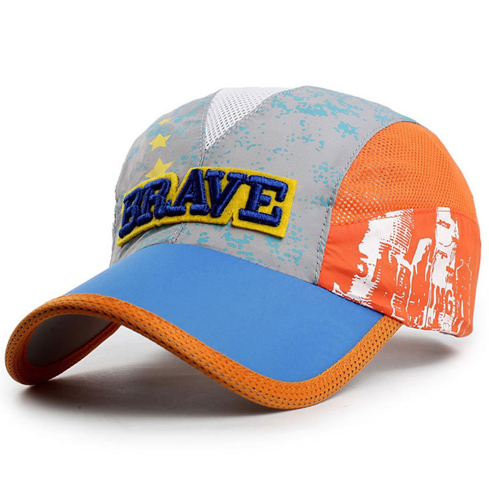 Kids Lightweight Quick Drying Baseball Caps Outdoor Airy Mesh UV Protection Sun Hat Lake Blue