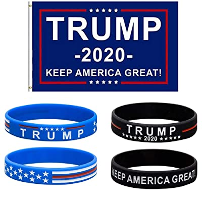 PRSTENLY Trump Keep America Great for President 2020 Silicone Bracelets-Inspirational Motivational Wristbands (2 Banner Bracelets & 2 Trump 2020): Jewelry