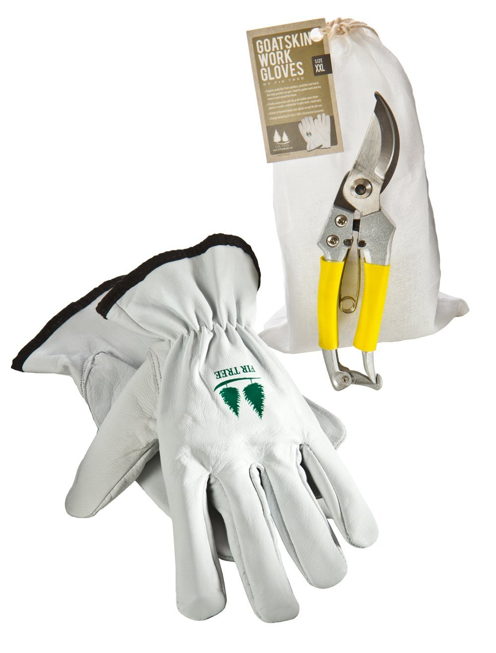 Gardening Tools Set by Fir Tree. Goatskin Leather Work Gloves and Stainless Steel Bypass Pruners.
