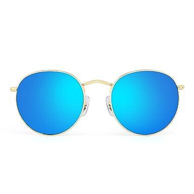 Gafas de Sol de Espejo Retro Redondas Vintage Clásico Lente Reflexivo Steampunk Mujer Hombre