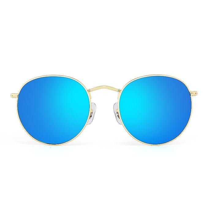 JIM HALO Gafas de Sol de Espejo Retro Redondas Vintage Clásico Lente Reflexivo Steampunk Mujer Hombre Azul: Amazon.es: Ropa y accesorios