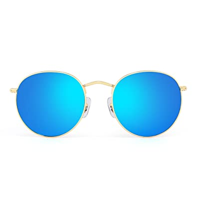 Retro Round Mirrored Sunglasses Vintage Reflective Glass Lenses Men Women  (Gold   Blue) 9b5c30816a6
