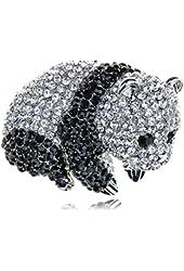 Alilang Silver Tone Black White Chinese Baby Panda Bear Cub Brooch Pin