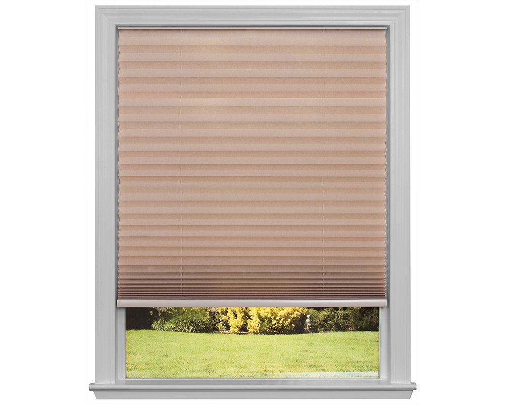 Easy Lift Trim-at-Home Cordless Pleated Light Filtering Fabric Shade Natural, 60 in x 64 in, (Fits windows 43''- 60'')