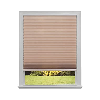 Easy Lift Trim-at-Home Cordless Pleated Light Filtering Fabric Shade Natural, 36 in x 64 in, (Fits windows 19 - 36 )