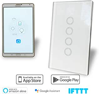 WiFi Smart Light Switch 4 Gang Glass Panel AU Approved Google, Alexa, IFTT Compatible
