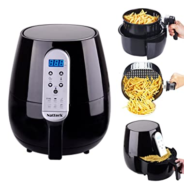 Black Air Fryer Hot Air Fryer 4.3 L/4.5 QT Smart Technology with Temperature and Time Control LED Display 1500W For Fast & Healthier Oil Free Cooking