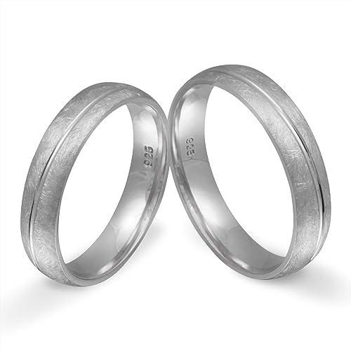 Elegante dos anillos de plata (925 Sterling), anillos de compromiso, alianzas de