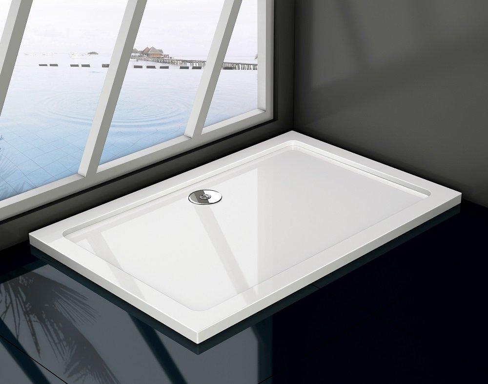 Piatto doccia in resina massa piena gel-coat slim rettangolare bianco h.3cm PETRO (70x150cm (Piletta inclusa)) MITEPEK