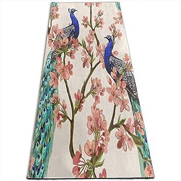 Dreamen Acuarela Cherry Blossom Peacock Yoga Mat-All-Purpose ...