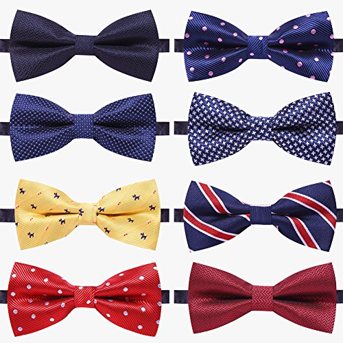 AUSKY 8 PACKS Elegant Adjustable Pre-tied bow ties for Men Boys in Different Colors (A)]()