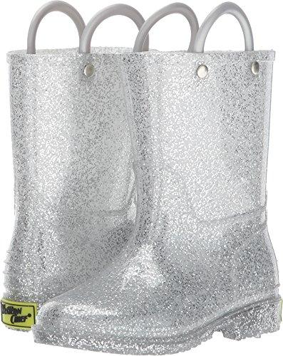 Western Chief Kids' Glitter Rain Boot, Silver, 7 M US Toddler