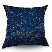 Moslion Star Map Throw Pillow Cover City Light Constellation in Night Sky Cotton Linen Decorative Pillow Case 18 x 18 Inch Standard Square Cushion Cover for Sofa Bedroom Men Women Blue Gold