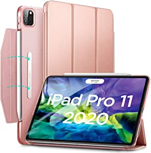ESR Yippee Trifold Smart Case (Rose Gold) + (2-Pack) Tempered-Glass Screen Protector for iPad Pro 11 2020 & 2018