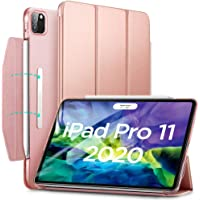 "ESR Yippee Trifold Smart Case for iPad Pro 11"" 2020, Auto Sleep/Wake [Supports Apple Pencil 2 Wireless Charging], Lightweight Stand Case with Clasp, Hard Back Cover for iPad Pro 11"", Rose Gold"