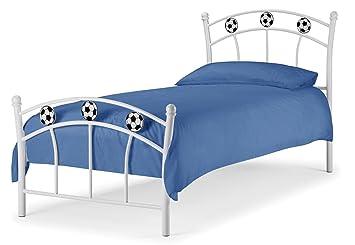 Harmin Ltd Football Soccer Metal 3ft Childrens Kids Bed Frame White