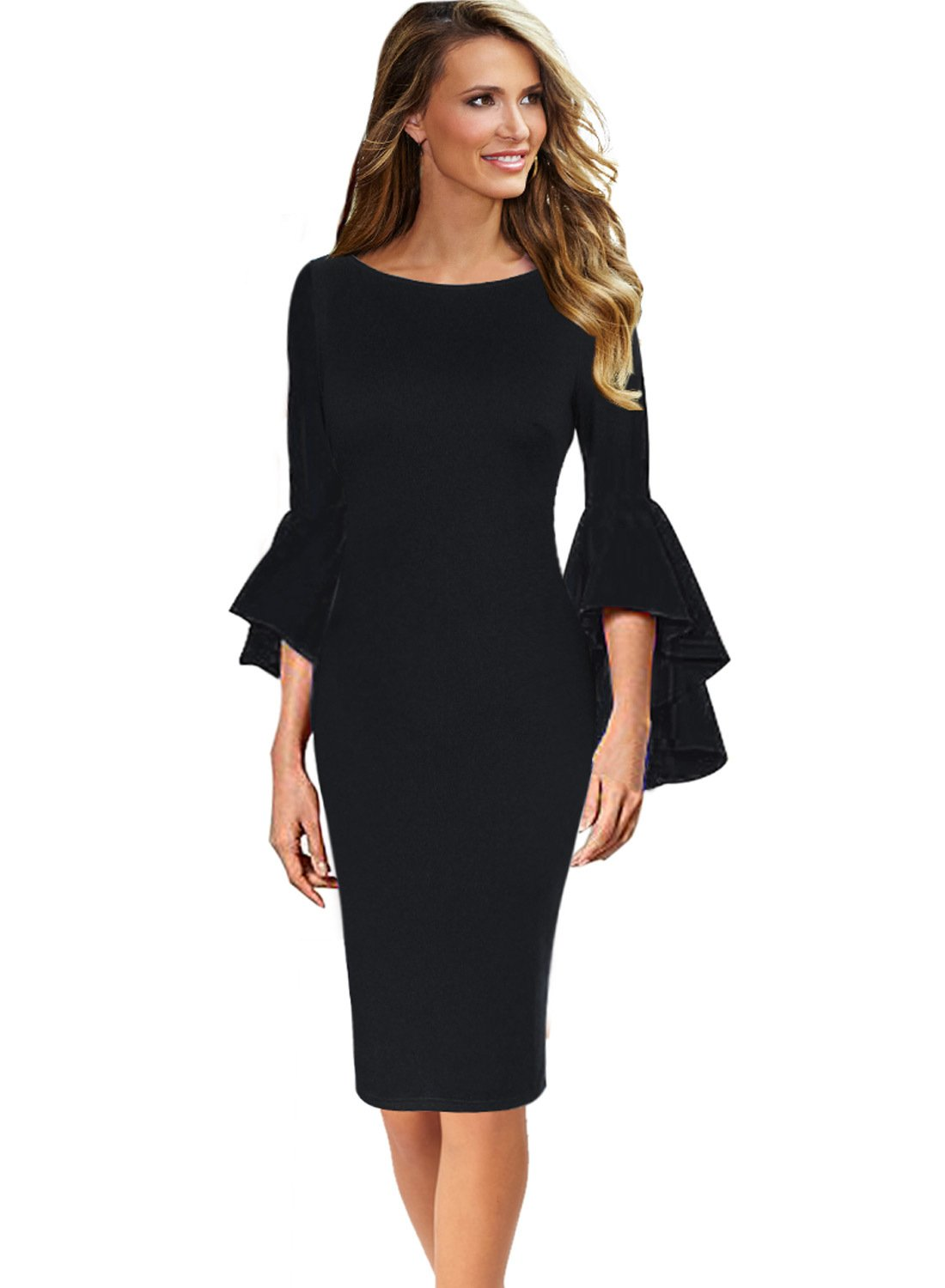 VFSHOW Womens Ruffle Bell Sleeves Business Cocktail Party Sheath Dress 1222 BLK L by VFSHOW