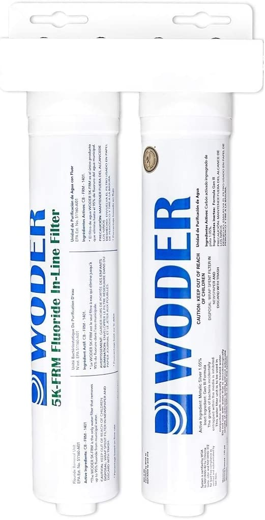 Woder WD-FRM-8K-JG-1 4 Fluoride Removal Refrigerator Water Filter Ice Maker Filter Ultra High Capacity 8,480gal – USA Made – With 1 4 Built-in John Guest Fittings For Unbraided PVC or 1 8 PEX