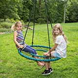 Spider Web Tree Swing with Open Center - Fully Assembled Tire Swing, 40 Inch Diameter, 600 lb Weight Capacity, Easy to Install