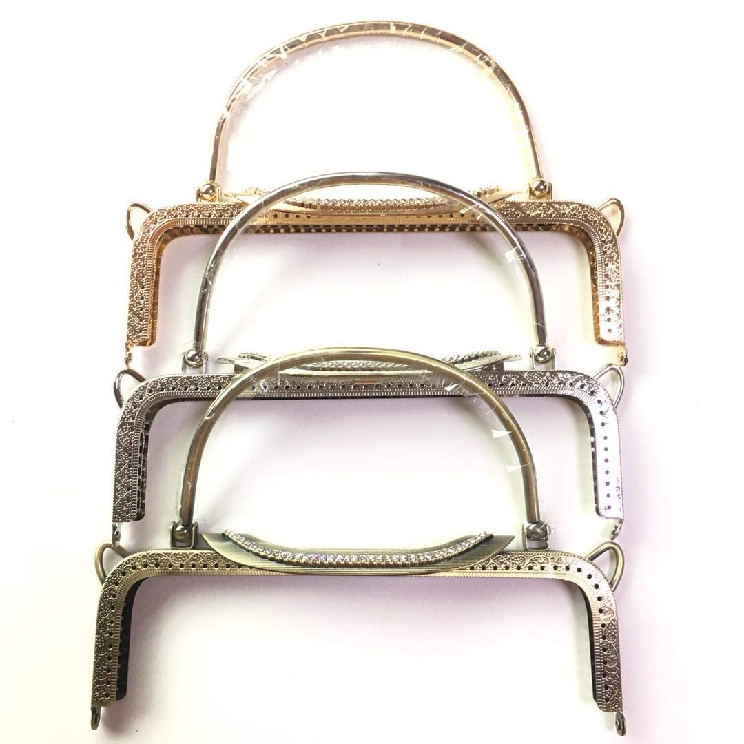 GuoFa 6Pcs Metal Purse Frames 8.7''/22CM Embossing Double Ears Purse Frame Square Handle Cluth DIY Sewing Bag Accessories