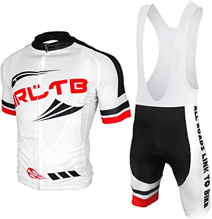 logas Cycling Jersey and Bib Shorts Set Mens Quick Drying Mtb Short Sleeve Padded Suit