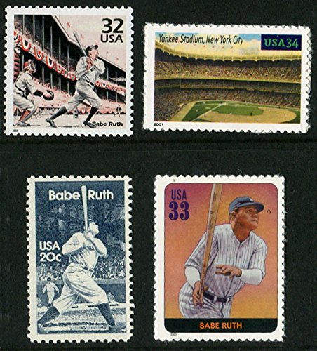 (A Special Four Stamp Collector's Set of BABE RUTH and YANKEE STADIUM postage stamps. )