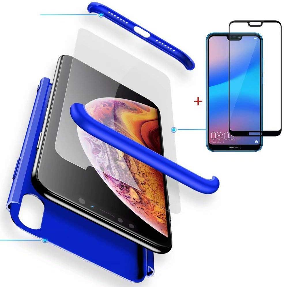 FGXG Coque Huawei P20 Lite, 360 degrés Full Cover Case,Housse PC Hard Shell Anti-Rayures Etui de Protection Pare Chocs [1 * Film de Verre ...