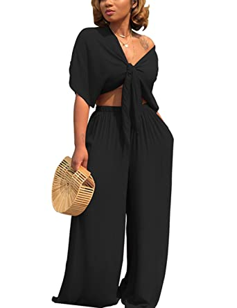 60546261a5 Women's Short Sleeve Crop Tops Wide Leg High Waisted Long Pants 2 Piece  Outfit (Black