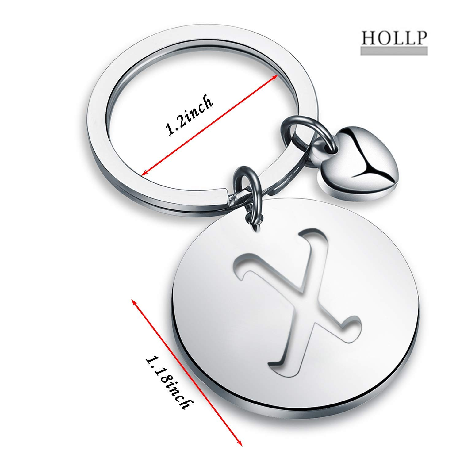 HOLLP Silver Initial Disc Charm Keychain 26 Initial Letter Alphabet Key Ring A-Z Initial English Charm Stainless Steel Initial Keychain for Women A