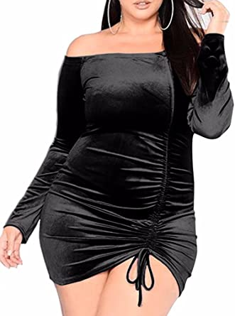 Beagimeg Womens Sexy Velvet Plus Size Ruched Off Shoulder Bodycon